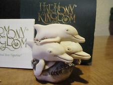 Harmony Kingdom Turn the Tide Dolphins Uk Made Marble Resin Box Figurine Fe 500