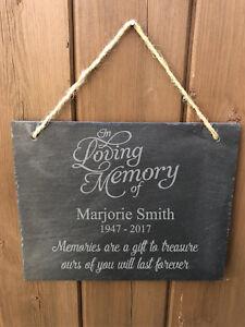 Personalised In Loving Memory Rustic Hanging Slate Memorial Grave Plaque