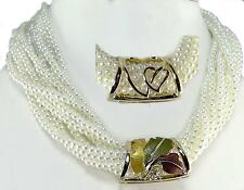 Cream Gold Pearl Necklace Convertible Twist Leaf Heart Slide 3 Way Classic
