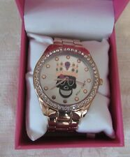 Betsey Johnson BLACK SUGAR SKULL Crystal Watch Black Rose Gold Band NWT