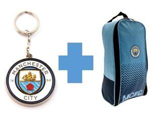 Manchester City Bootbag and Keyring Set Official Merchandise Shoebag School Kit