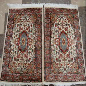 (3 X 2)' Excellent Ivory Floral Area Rugs Wool Silk Hand Knotted Carpet Pair