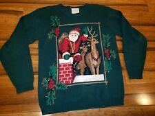 Susan Bristol Vintage Ugly Christmas Sweater Santa reindeer down chimney 1995