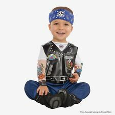 Amscan 9900881 Little Biker Costume with Tatooed Sleeves and Hat-Age 6-12 Months