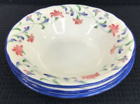"Epoch by Noritake Indigo Garden E 137 Set Of 3 Cereal Bowls 12 Oz 7"" Indonesia"