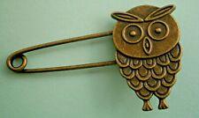 Abstract Owl Bird Kilt Pin Brooch T914*) Retro Bronze Tone Metal Celtic
