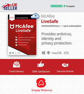 McAfee LiveSafe 2021 Unlimited Multi Devices 1 Year- 5 Minute Delivery by Email*