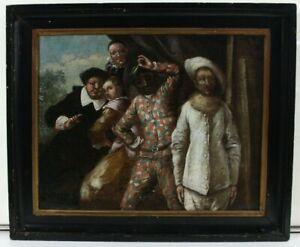 Venezianischer Meister Harlekin und Pierrot Ölgemälde 18. Jahrhundert