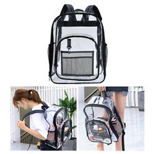 See Through Waterproof Clear Backpack Transparent Zip Bag for Security Black