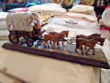 "Rare Anri Wood Carved ""COVERED WAGON w/4 HORSES AND DRIVER"" 16"" Italy KH"