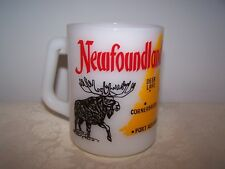 USA FEDERAL GLASS NEWFOUNDLAND LEFT HANDED MUG with MOOSE AND MAP, SHIP, CREST