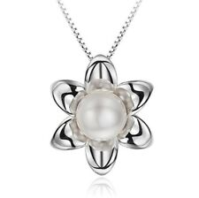 Flower Pearl Pendant Necklace 925 Sterling Silver Chain Womens Girls Jewellery