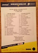 Oxford United v Oldham Athletic - League 1 -Team-Sheet A5 - 07/04/2018 - Mint