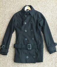 ICHI Black Smart Jacket Coat Buttons Belt Size Small S Wool Mix Fully Lined