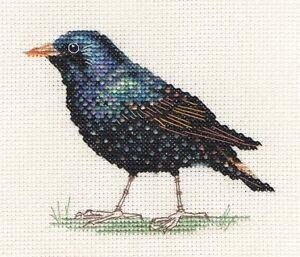 STARLING Garden Bird Full counted cross stitch kit + all materials  *FIDO STUDIO