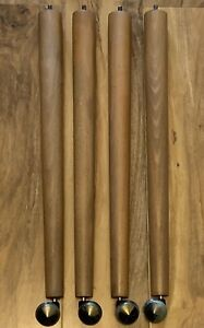 Vintage Retro Wooden Dansette Furniture Legs Feet Casters