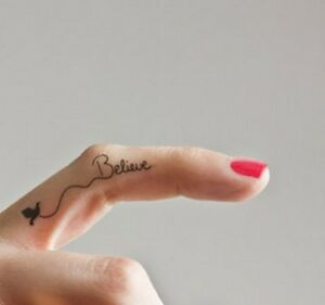 6 Temporary Tattoos - I Believe - finger tattoo wrist, neck or  ankle tattoos