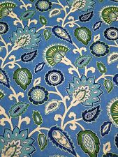 """RICHLOOM MYANMAR OCEAN BLUE RED FLORAL LINEN CURTAIN FABRIC BY THE YARD 54""""W"""