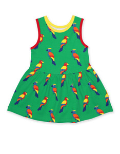 Toby Tiger Organic Parrot full skirt Dress ages 2 3 4 5 years