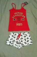 Primark GAME OF THRONES Casa Lannister Donna Cami Pigiama Set Rosso Giarrettiera Cuccioli