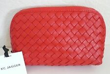 KC Jagger Mila Woven Cosmetic Make-Up Case Pouch Red Leather NWT