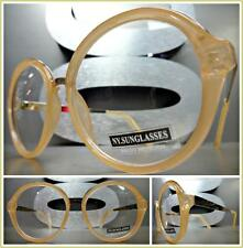 CLASSIC VINTAGE RETRO Style Clear Lens EYE GLASSES Round Beige & Rose Gold Frame