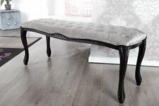 Banc Banquette DIMENSIONS gris argenté 115cm Velours Look Baroque Design