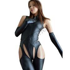 Black Leather Like Christmas Costumes Zipper Catwoman Jumpsuit Clubwear Set M-L