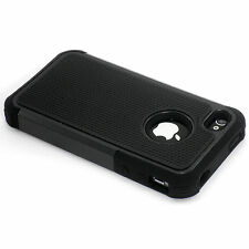 New Black Heavy Duty Protection Hard Case + Screen Guard For iPhone 4 4S 4G