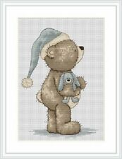 "Bruno The Bear "" Time For Bed Bruno "" Teddy Bear Cross Stitch Kit"