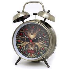 The Alchamy Guild Skull Alarm Clock  Twin Bell Watch  Cooper Metal