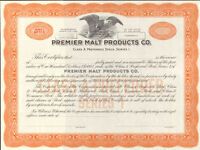 Premier Malt Products Company > orange beer brewing stock certificate share