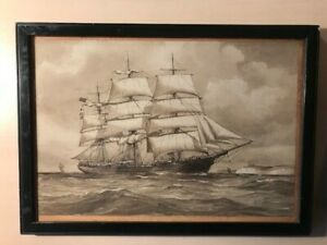 Sailing Ship : Pelham Jones : Original Drawing :  Tall Sailing Ship `Milton'