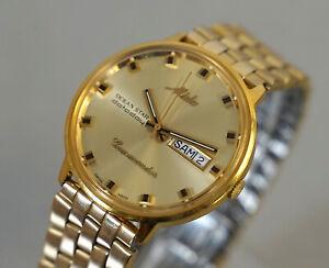 Mido Commander Ocean Star Datoday Edelstahl Automatic Armbanduhr vergoldet RAR