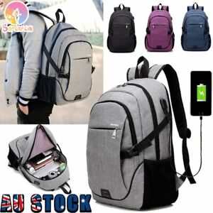 Mens Travel Shoulder Notebook School Bag Laptop Backpack With USB Charging Port