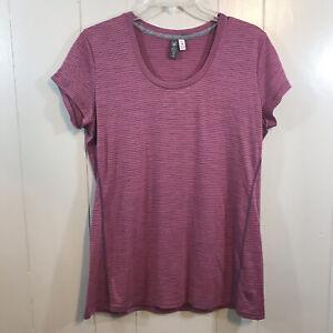 Ibex 100% Merino Wool Pink Short Sleeve Semi Fitted Scoop Neck Active Top Medium