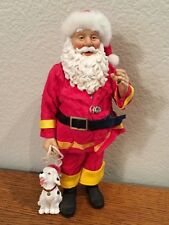 Collectible Figure  Fabriche  Santa Clause  Fireman w/ Dog  10""