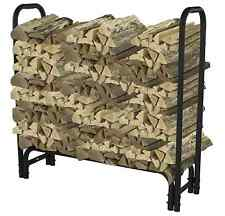 Pleasant Hearth 4 ft. Heavy Duty Firewood Rack Steel Log Holder Storage in Black