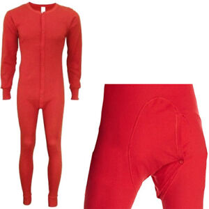 Red Union Suit Thermals One Piece Long Johns Full Body Warm Winter Pajamas