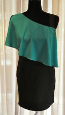 *Prada*  Fabulous black dress with green ruffle over one shoulder M (UK 8/10)