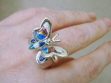 Butterfly Ladies Black RED Blue FIRE Opal Ring Sterling Silver 925 3d 10 $225