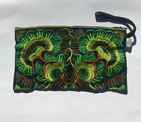 Hmong Ethnic Boho Handmade Deluxe Flower Clutch Bag with wrist strap Brand New!!