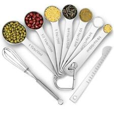 Measuring Spoons Set Cooking Kitchen Measure Spoon Stainless Steel 9 Piece Cups