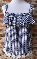 J. Crew Tie  Shoulder Ruffle Top Eyelet Trim Sz 0 XS Blue White Gingham Tank Top