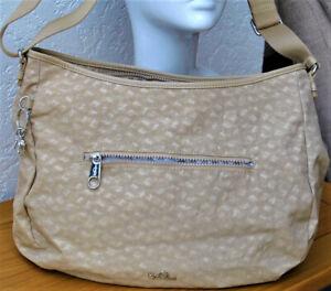 "New Kipling~Large Cross Body Bag ""GOLD"" With Kipling Pattern (Silver Monkey)��"