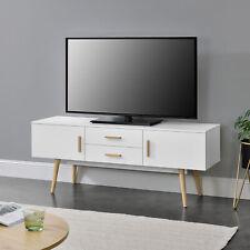 [en.casa] Fernsehtisch TV Lowboard Board Fernseher Schrank Unterschrank Weiß