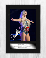 Charlotte Flair A4 signed mounted photograph picture poster. Choice of frame.