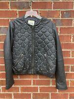 MNG Mango Zipped Studded Leather Biker Jacket Womens Size Medium Coat