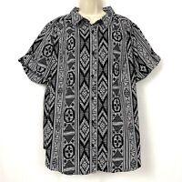 Roamans 24W Short Sleeve Button Down Shirt Top Black White Aztec Geo Print 24