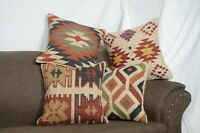 4 set of Wool Jute Cushion Cover Throw Indian Vintage Handmade Kilim Rug Pillows